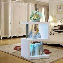 2 Tier Side Coffee Table With LED Light -White Home Room Decoration