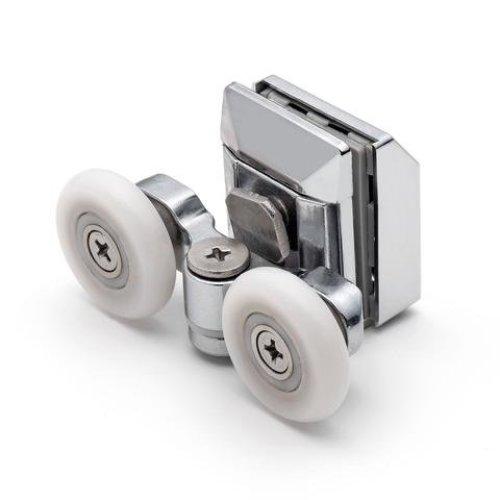(20mm) 2 x Twin Top Zinc Alloy Shower Door Rollers/Runners/Wheels 20mm or 23mm Wheel Dia L020