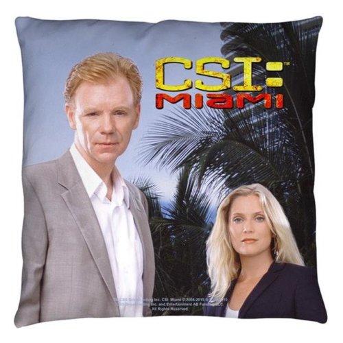 Trevco CBS1501-PLO3-18x18 Csi Miami-Blue Sky - Throw Pillow, White - 18 x 18 in.