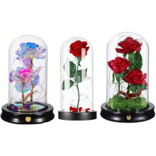 Flower in Glass Dome on Wooden Base for Home Decor Holiday Party
