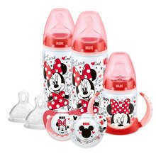 NUK Disney Baby Bottle, Soother & Sippy Cup Set, 6-18 Months, Minnie Mouse Design, with 2 Baby Bottles, 1 Sippy Cup, 2 Soother Dummies & 2 Silicon...