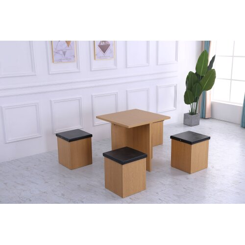 (Oak and black) Stowaway Dining Set table & stools Space Saver