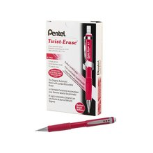 Pentel Twist Erase III Mechanical Pencil 0 7mm Red Barrel 12 Pack QE517B