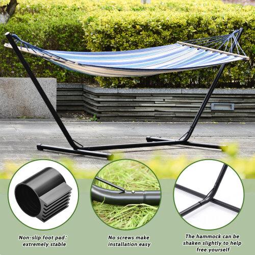 Outdoor Garden Patio Swinging Hammock With Steel Frame Hammock Stand