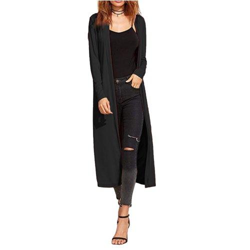 Ladies Maxi Long Length Boyfriend Cardigan Collared Top Long Full Sleeve Floaty Duster Jacket Coat Blazer