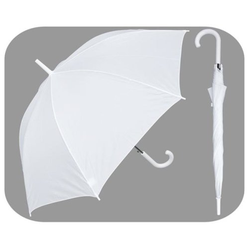 RainStoppers W032W 48 in. Auto Open White Umbrella with Matching Hook Handle, 6 Piece