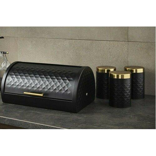 SWAN Gatsby Vintage Bread Bin & 3 Storage Canisters Set Black Gold