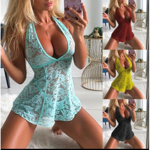Women Sexy Lingerie Floral Lace Sleepwear Underwear Dress See-Thru Babydoll