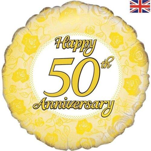 "18"" Foil Balloon - Happy 50th Anniversary (Golden Wedding Anniversary)"