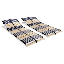 Slatted Bed Bases 2 pcs with 42 Slats 7 Zones 80x200 cm