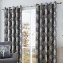 """Fusion - Woodland Trees - 100% Cotton Ready Made Lined Eyelet Curtains - 90"""" Width x 90"""" Drop (229 x 229cm) in Charcoal Grey"""