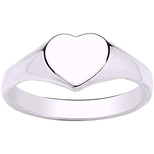 (Q) Heart Signet Ring Solid Sterling Silver Ladies
