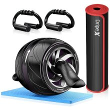 Dripex 4-in-1 Ab Abdominal Wheel Roller Set with Push-Up Bar, Yoga Mat and Knee Pad - Core Strength - Abs Trainer for Home Gym Workout