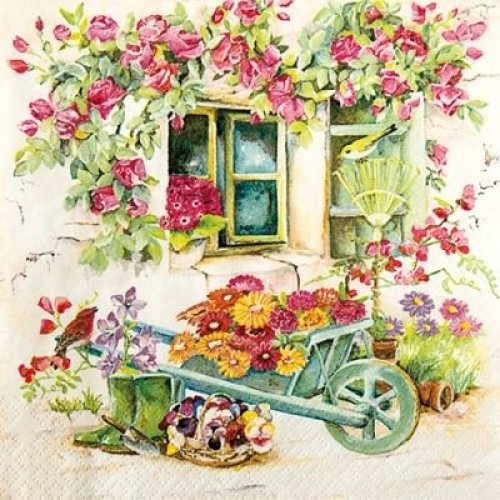 4 x Paper Napkins - Backyard Garden - Ideal for decoupage / Napkin Art