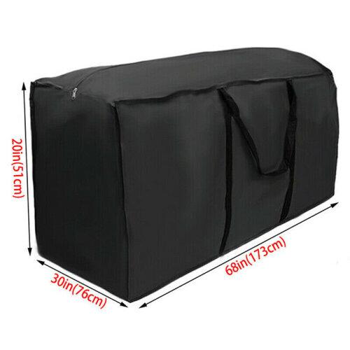 (Black, 173x76x51cm) Large Heavy Duty Waterproof Outdoor Garden Furniture Cushions Storage Bags Case