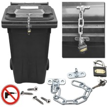 Wheelie Bin Lid Chain Lock-Easily Fitted with Padlock Stop FLY TIP
