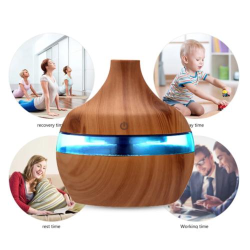 (Dark Brown) Colorful Light Wood Grain Aromatherapy Humidifier