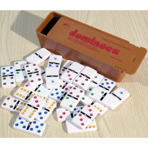 Plastic Dominoes With Coloured Spots & Spinners   Double Six Domino Set