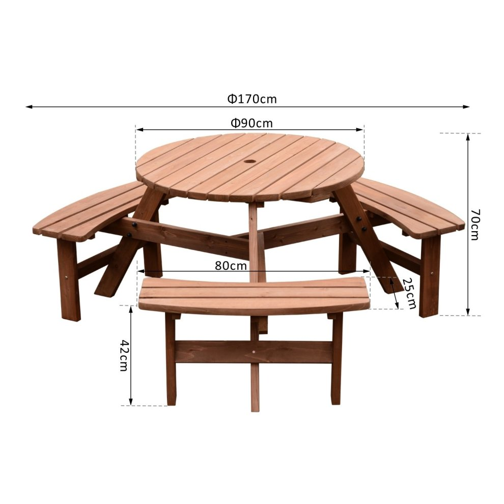 Outsunny Fir Wood Pub Parasol Table and Bench Set 6 Person ...