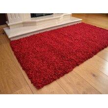Abaseen Shaggy Red Luxurious Soft 5cm Dense Pile Rug-(160cm x 220cm)