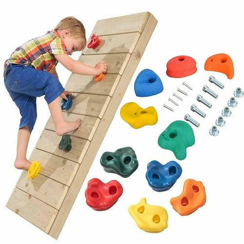 Set of 10 Climbing Stones Bolt On Climbing Frame Wall Rock Hold Grab Stone Grip
