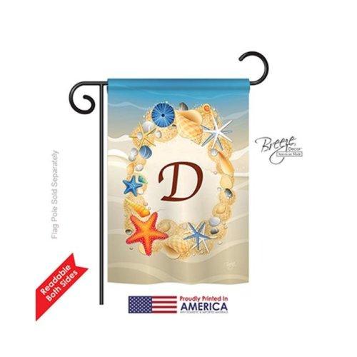 Breeze Decor 80160 Summer D Monogram 2-Sided Impression Garden Flag - 13 x 18.5 in.