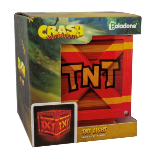 Crash Bandicoot Exploding TNT Light Up Crate With Sound Push Down On/Off Feature