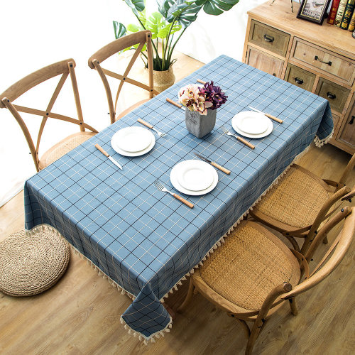 (Blue, 140x220cm) Tablecloth Tassel Tablecover Plaid Polyester