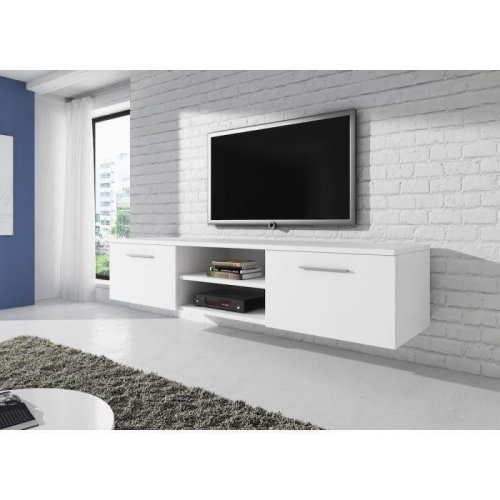 "(White, Matte) e-Com - Floating TV Unit Cabinet Stand Sideboard ""VEGAS"" - 150 cm"