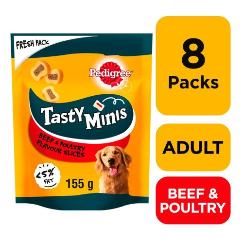 PEDIGREE Tasty Bites Dog Treats Chewy Slices With Beef 8x155g
