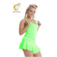 Women Microfiber Crazy Chick Neon Green Vest Stretchy Top Dance Party Casual Club Gym Vest