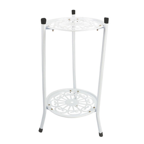 (White) Metal Plant Stand Flower Display 2 Holder