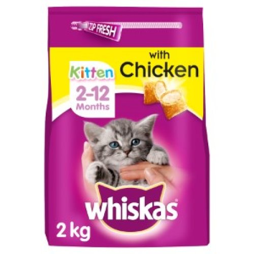 4pk Whiskas Kitten Complete for Kittens Aged 2-12 Months With Chicken - 4x 2kg Packs | Dry Cat Food