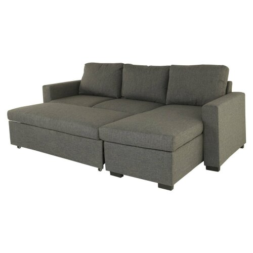 (Grey) L-Shaped 3 Seater Sofa Bed