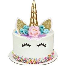 HJHL Unicorn Cake Topper Set, Eyelashes Party Cake Decorations Supplies for Birthday Party Decorations Birthday Baby Shower Wedding Party Supplies