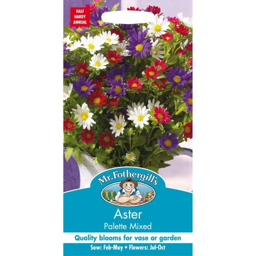 Mr Fothergills - Pictorial Packet - Flower - Aster Palette Mixed  - 50 Seeds