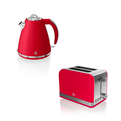 Swan Retro Twin Pack 1.5L Jug Kettle & 2 Slice Toaster in Red