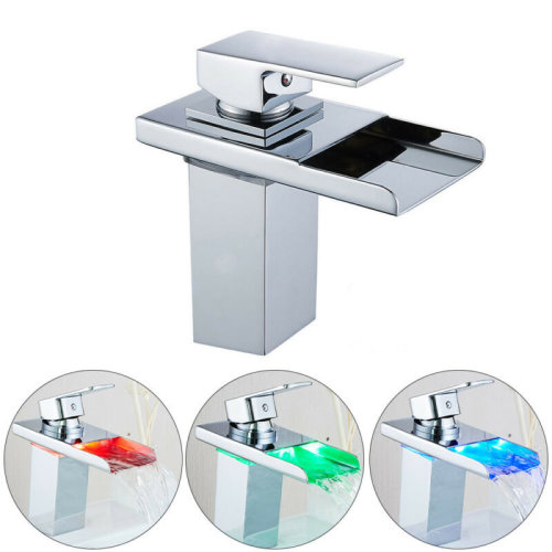 LED Waterfall Tap Bathroom Taps Basin Mixer Bath Single Lever