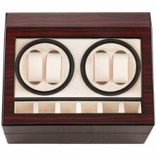 Automatic Watch Winder Box (British Plug) with 4 Watch Winder Positions and 6 Display Storage Spaces