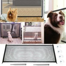 Portable Pet Dog Cat Magic Mesh Gate Door Barrier Safe Nets Guard Install Fence