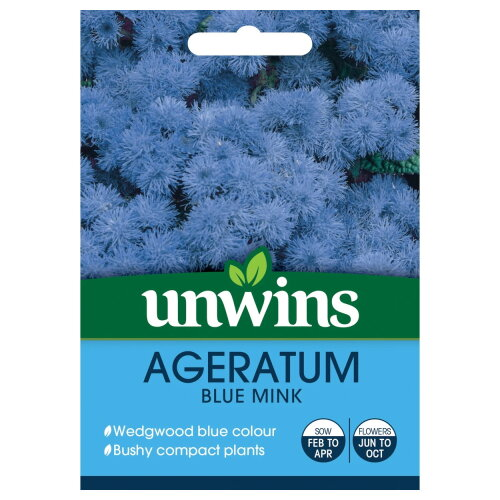 Unwins Grow Your Own Ageratum Blue Mink Bushy Compact Flowers Seeds
