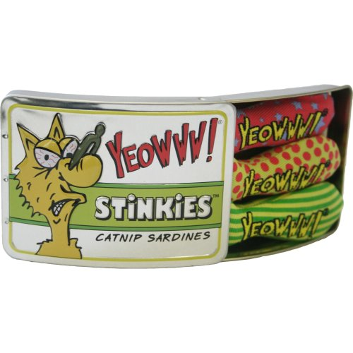 YEOWWW Tin Of Stinkies in a Sardine Tin Cat Toy, Pack of 3
