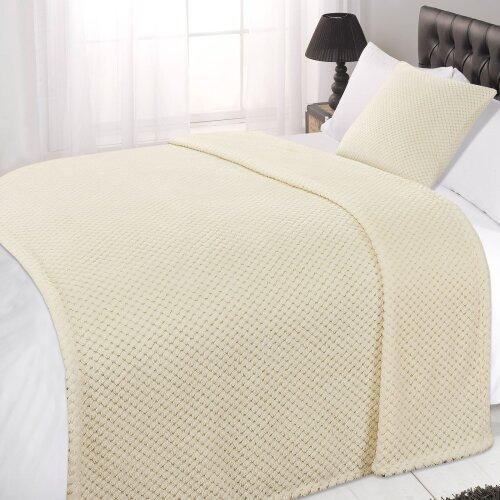 (Cream Ivory, Single - 125 x 150cm) Dreamscene Luxurious Waffle Honeycomb Blanket Throw (Large)