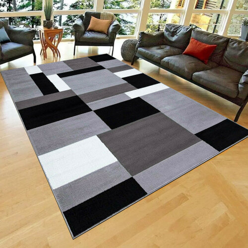 Grey Large Rug Bedroom Living Room Hallway Runner