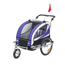 HOMCOM 2-in-1 Baby Stroller Jogger Steel 2-Seater Child Bicycle Carrie Purple