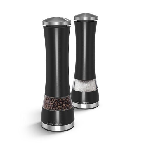 Morphy Richards 974220 Accents Electronic Salt and Pepper Mill Set, Stainless Steel, Black