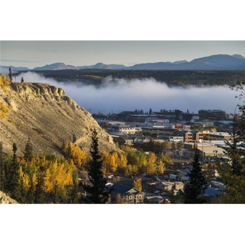 Fog Hangs Over The Yukon River at Whitehorse Yukon Territory Canada Poster Print - 38 x 24 in. - Large