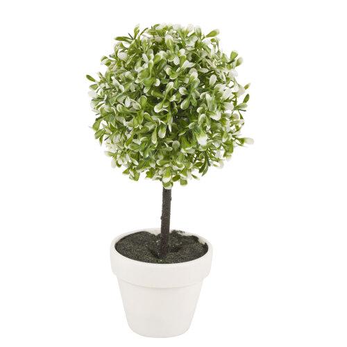 (Medium, Green) 2X Artificial Outdoor Ball Plant Tree