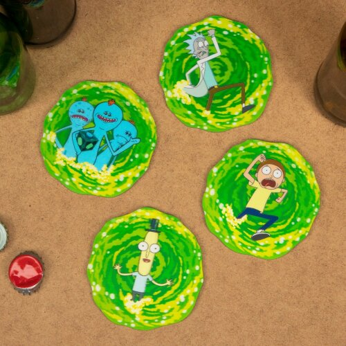 Rick & Morty 3D Lenticular Coasters Place Mats Set Circle Non Slip Drinks