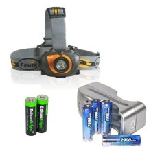 Fenix HL30 200 Lumen LED Headlamp with Four 2900mAh rechargeable Ni MH AA batteries Charger Two EdisonBright AA Alkaline batteries